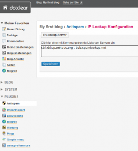 Antispam Blog Software Dotclear - IP Lookup Konfiguration