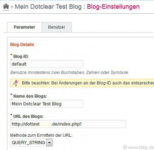 Dotclear Blog-Einstellungen | URL des Blogs mit index.php?